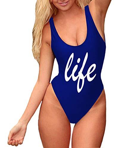 0139e1954ceca Begonia.K Women s Letter Print One Piece High Cut Low Back Monokini Swimsuit