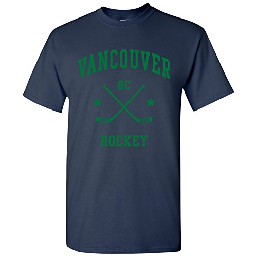 Vancouver Classic Hockey Arch Basic Cotton T-Shirt - Large - Navy