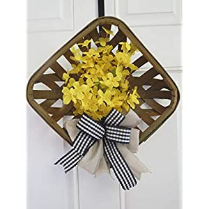 Tobacco Basket Door Hanger, Spring Door Wreath, Farmhouse Wreath, Country Decor, Yellow Forsythia 110