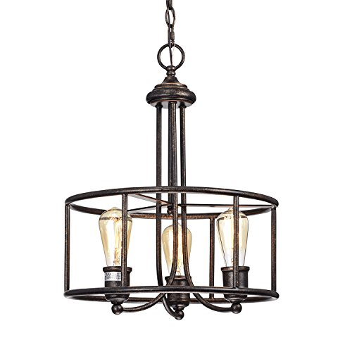 - Edvivi 3-Light Antique Copper Round Pendant Chandelier Ceiling Fixture | Industrial Lighting