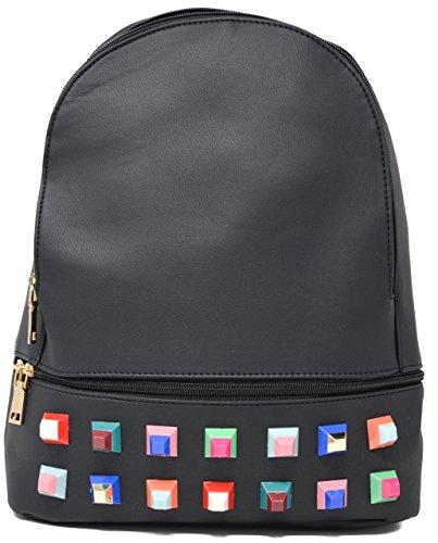 Bolsos mochila mujer polipiel con tachuelas, mochilas mujer, mochila polipiel (Gris) Negro