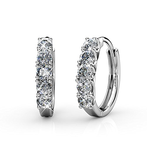 BELLE & LILY Hoop Loop Earrings 18K White Gold with Swarovski Element Crystal Sparking Christmas Gift for Women Girl Mother Wife (E-Hoop) ()