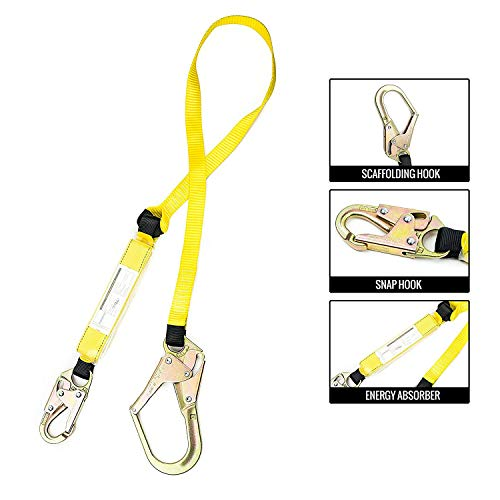 Spidergard SPLD002 6 ft Energy-Absorbing Single Leg Lanyard with Snap Hook and Rebar Hook ()