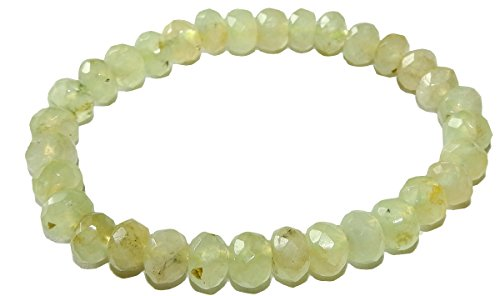 (Prehnite Bracelet 8mm x 4mm Rondelle Beads Bracelet 01 Heart Healing High Energy Crystal (Gift Box) (6.5 Inches) )