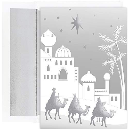 (Masterpiece Holiday Collection 16-Count Christmas Cards with Foil Lined Envelopes, Silver Wisemen)