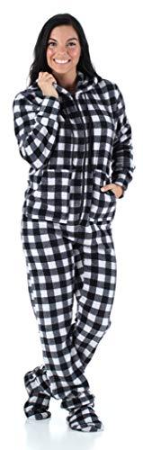 SleepytimePjs Women's Sleepwear Fleece Hooded Footed Onesie Pajamas Grey Buffalo Plaid – (ST17-W-3033-MED)