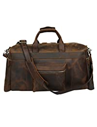 Texbo Men's Thick Cowhide Leather Vintage Big Travel Duffle Luggage Bag