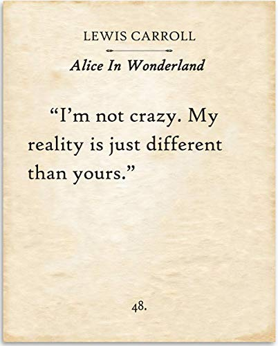 (Lewis Carroll - I'm Not Crazy - Alice In Wonderland - 11x14 Unframed Typography Book Page Print - Great Gift for Book Lovers, Also Makes a Great Gift Under)