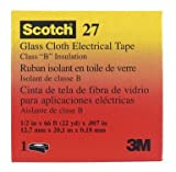 3M Glass Cloth Electrical Tape 27, White, Rubber Thermosetting Adhesive.75-Inch by 66-Foot