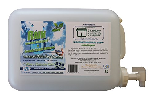 Rain Laundry Detergent. Naturally Silky Softens hE 5Gal Ships with pure ingredients only must add water Infallible family protection baby rash guard and eczema care USA by Mineral Methods