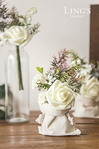 Ling's moment Artificial Ivory Roses Flower Arrangements for