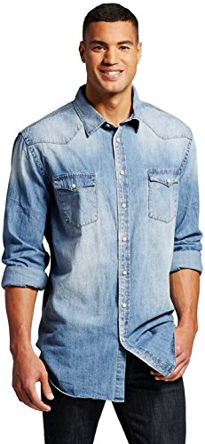 Masked brand mossimo men 39 s big tall denim button down for Tall button down shirts