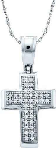 10 k or blanc Diamant 0,10 Dwt Rough Pendentif Or Croix de haute qualité Or 9 Carats JewelryWeb