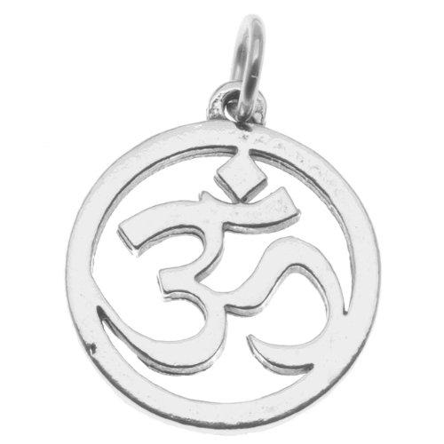 Sterling Silver Charm, Aum Om Symbol 20mm Round Pendant, 1 Piece, Silver