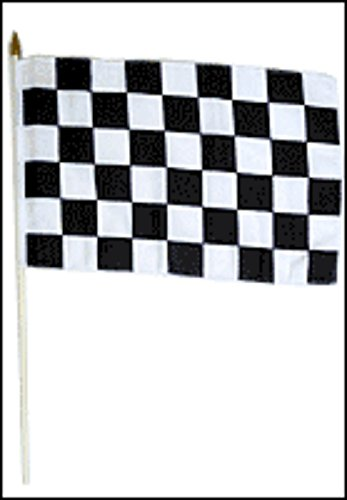 ALBATROS 12 inch x 18 inch Black and White Checker Checkered Stick Flag with Wood Staff for Home and Parades, Official Party, All Weather Indoors Outdoors -