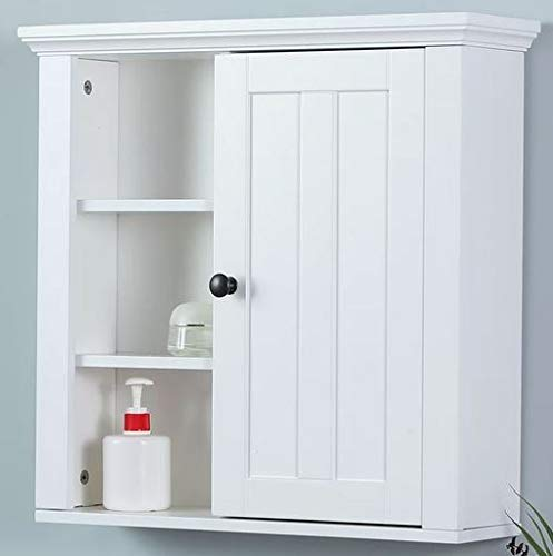 (Ark Decor- Recessed Medicine Cabinet - White Wood Single Door Five Shelves - Perfect Storage for Your Essentials at Home)