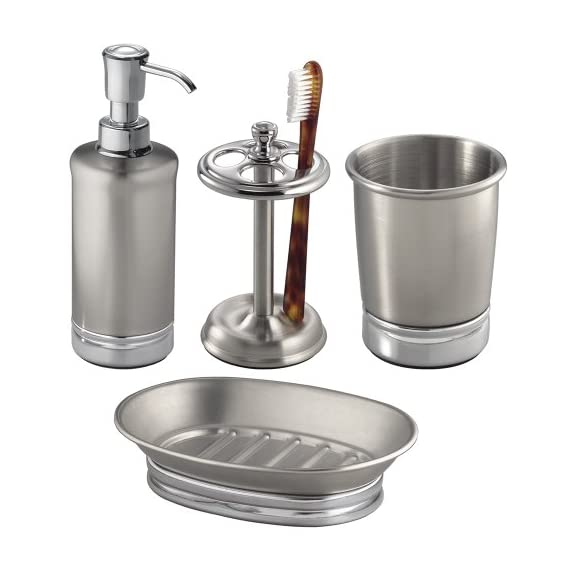 InterDesign York Metal Countertop Accessory Set, Soap Dispenser Pump and Dish, Toothbrush Holder, and Tumbler Cup for… - COUNTERTOP SET: Bathroom countertop accessory set includes soap dispenser pump, soap saver, toothbrush holder, and tumbler for drinking, rinsing, or storing toothbrushes, tweezers, razors, makeup brushes, cosmetics, pens, pencils, scissors, office supplies, or craft tools. Ideal for bathroom, kitchen, office, craft room, bedroom, or vanity countertop REFILLABLE DISPENSER: Soap dispenser is designed with a wide opening to make refilling your favorite soap or lotion easy. Can hold up to 8 ounces of soap or lotion FUNCTIONAL: Toothbrush holder features 4 slots for multiple toothbrushes to accommodate the entire family. Soap saver features raised edges to securely hold your bar of soap. Tumbler can be used for drinking, rinsing, or holding smaller items - bathroom-accessory-sets, bathroom-accessories, bathroom - 41XyUgLA2pL. SS570  -