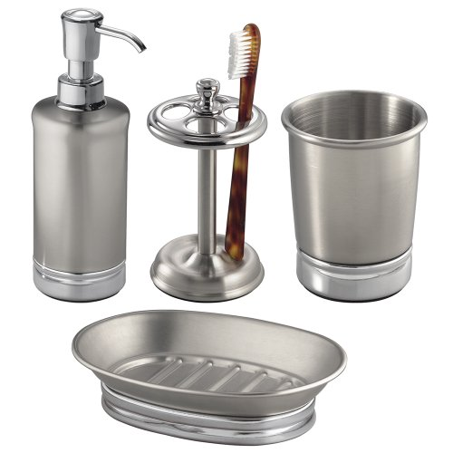 41XyUgLA2pL - InterDesign York Metal Bath Accessory Set, Soap Dispenser Pump, Toothbrush Holder, Tumbler, Soap Dish - 4 Pieces, Split Finish