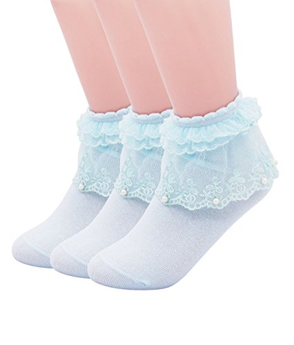 SEMOHOLLI Women Ankle Socks,Pearl Lace Ruffle Frilly Comfortable No-Show Cotton Socks Princess Socks Lace Socks (3 Pairs-Light Blue)