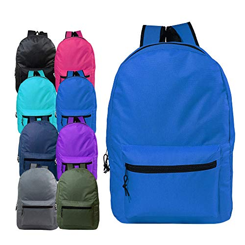 17 Inch Wholesale Kids Basic Backpack in 8 Assorted Colors - Bulk Case of 24 Bookbags