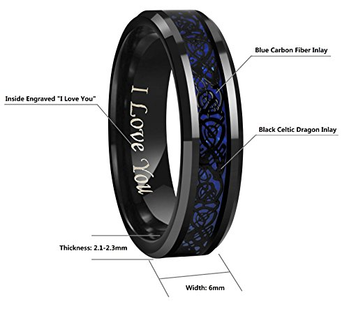 Crownal 6mm 8mm Blue/Green Carbon Fiber Black Celtic Dragon Tungsten Carbide Wedding Band Ring Engraved ''I Love You'' (6mm,6) by CROWNAL (Image #3)