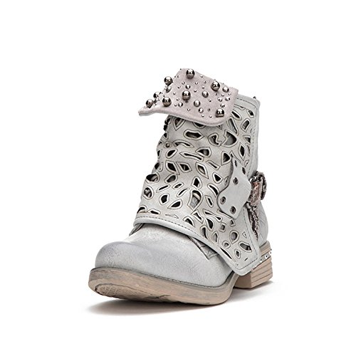 - LALA IKAI Women Motorcycle Boots Combat Ankle Combat Boots with Studded Low Block Heels Biker Shoes Black/Gray/Brown