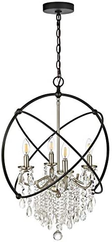 Safavieh PND4101A Sabina 4-Light Nickel Brass and Black Adjustable Chandelier LED Bulbs Included Pendant