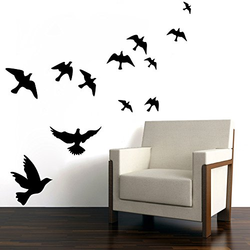 Witkey Flying Black Bird Flying High to Sky 3d Removable Vinyl Wall Sticker Mural Decal Art Décor