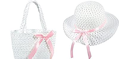 Girls White Woven Hat W/bag Teaparty Dress up Easter