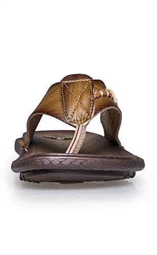 Norocos Mens Klassisk Bekväm Flip Flops Gummi Tofflor Tillfällig Lädersandals Khaki