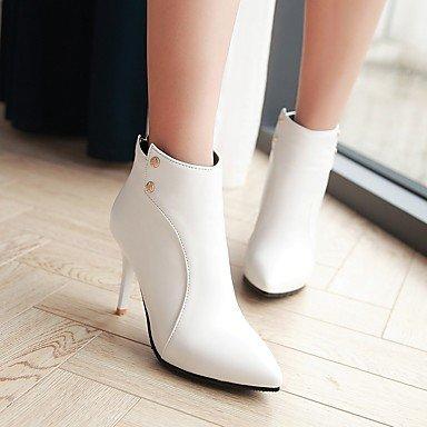 Botas de Mujer Otoño Invierno Comfort polipiel vestir casual hebilla Stiletto talón caminando White