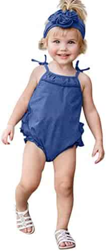 19cc32d14 S.H.EEE Toddler Kids Baby Girls umpsuit Clothes Strap Ruffled Hair Band  Romper Bodysuit Playsuit+