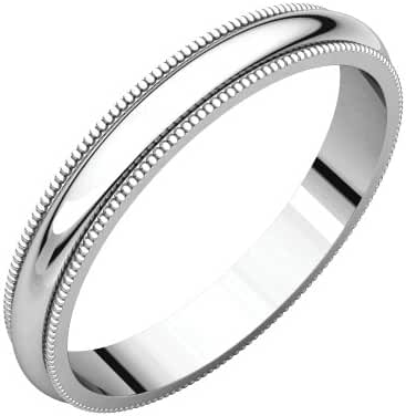 Platinum 3mm Milgrain Band, Ring Size 5