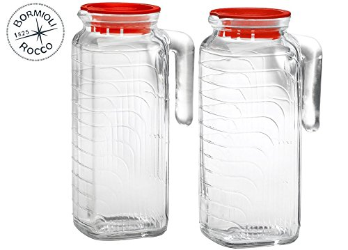 (Bormioli Rocco Gelo 2-Piece Glass Pitcher Set with Red Lids and Handles, 1.2 liter - For Hot and Cold Tea, Water, Juice, Homemade Beverages - Glass Serveware)