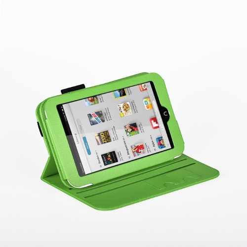 Exact(TM) 360 degree Rotary leather case for Nook HD 7 Tablet Green (Support Auto Sleep/Wake Function)