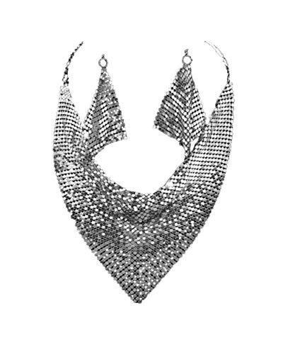 Nataliya Silver Metal Mesh Scarf Necklace Earring Set (silver mesh choker necklace set) ()