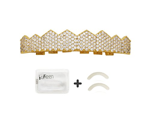 LuReen 14k Gold Silver Plated Pave Full Iced Out CZ 8 Teeth Grillz Set + 2 Extra Molding Bars (Gold Top) ()