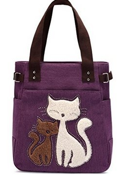 Kaukko Women's Canvas Handbag, Large Shoulder Bag with Pockets, Purple One Size