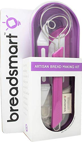 Bread Basket Replacement Liner - Breadsmart - Artisan Bread Baking Tool Set - 5-Piece Kit - Includes Lame with 10 Replacement Blades, Danish Dough Whisk, Proofing Banneton with Reusable Liner, Bench Scraper and Recipe Guide - Purple