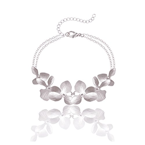 Ann Tarry Gold Plated Orchid Flower Necklace or Bracelet + Beautiful Gift Box (Silver Tone Bracelet)