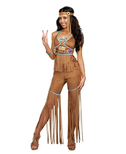 Dreamgirl 9849 Peace Out Womens Costume - Large - Brown