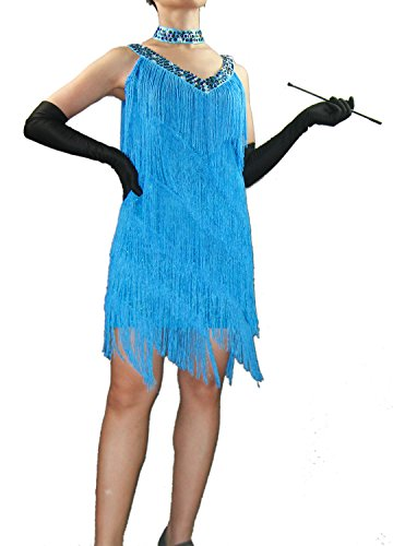 Whitewed V Neck Beaded Fringe Great Gatsby Costumes Dress like a Flapper Blue (Party City Flapper Dress)
