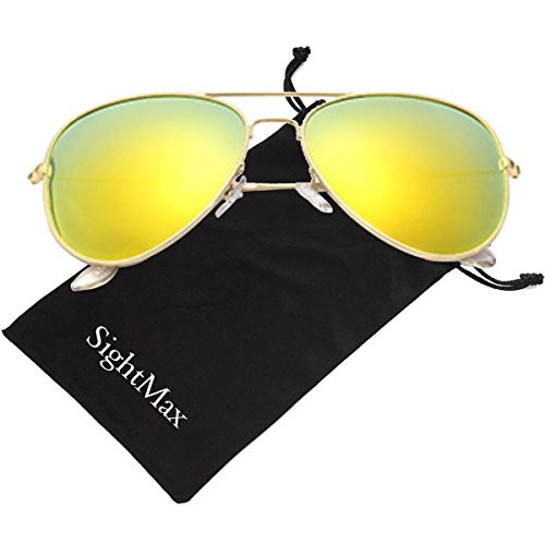 SightMax Polarized Male Female Aviator Sunglasses Flash Mirror UV400 (Gold Frame/Yellows - Gold Sunglasses Aviator Mirror