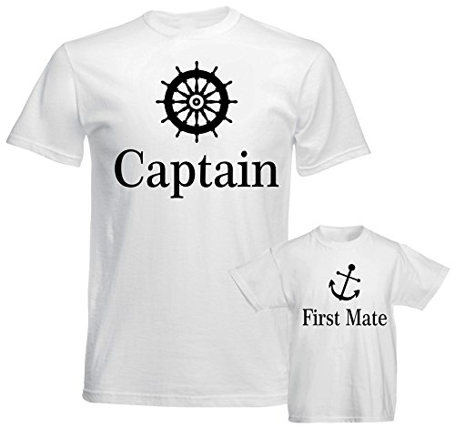 SuperPraise Father Daddy Daughter Dad Son Matching T Shirts Sailor Captain First Mate -