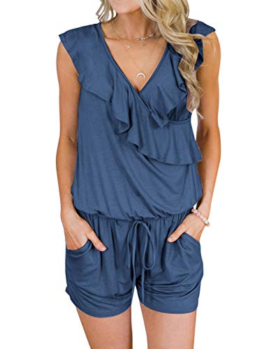 MIROL Women's Summer Sleeveless V Neck Ruffle Shorts Elastic Waist Jumpsuit Rompers with Pockets Blue