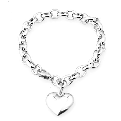 Jewelry Kingdom 1 Romantic Silver Oval Chain Heart Stainless Steel Charm Women Bracelet,7-11