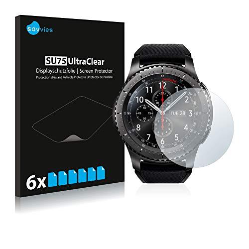 Savvies 6X Schutzfolie kompatibel mit Samsung Gear S3 Frontier / S3 Classic Displayschutz-Folie Ultra-transparent