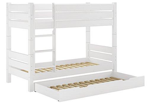 Etagenbett Dreier : Erst holz® etagenbett kiefer weiß 90x200cm nische 80 teilbar 3