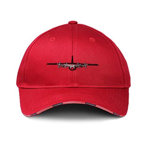 Speedy Pros American Flag Hat AC-130 Gunship Outline Plane Embroidery Design Cotton Patriotic USA Baseball Cap Strap Closure Red Design Only