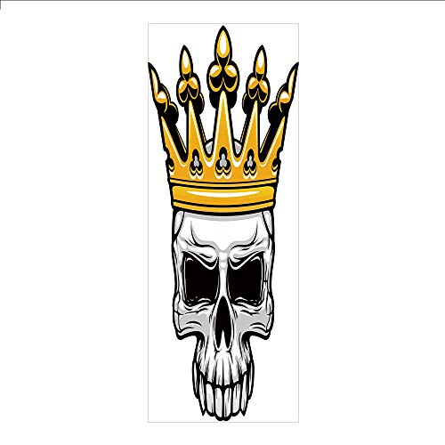 3D Decorative Film Privacy Window Film No Glue,King,Hand Drawn Crowned Skull Cranium with Coronet Tiara Halloween Themed Image Decorative,Golden and Light Grey,for Home&Office